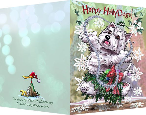 West Highland Terrier - Happy Holly Dog Pine Skirt - Christmas Card