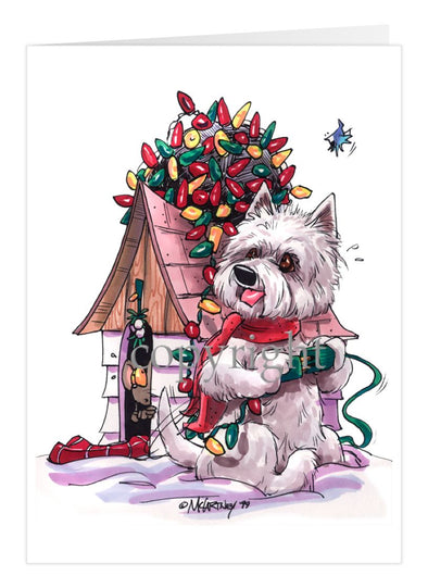 West Highland Terrier - Tangled Lights - Christmas Card