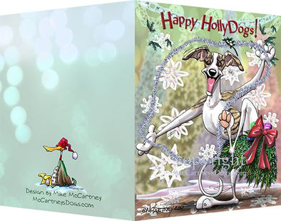 Whippet - Happy Holly Dog Pine Skirt - Christmas Card