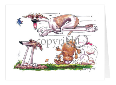 Whippet - Running Over Rabbit - Caricature - Card