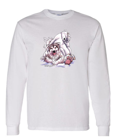 Alaskan Malamute - With-polar-bear - Caricature - Long Sleeve T-Shirt