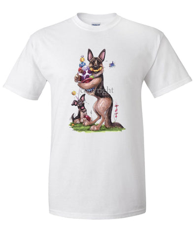 German Shepherd - Holding Balls And Toys - Caricature - T-Shirt
