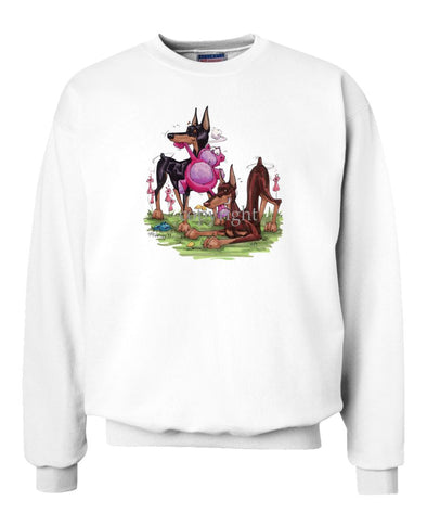 Doberman Pinscher - Group Tugging Stuffed Bear - Caricature - Sweatshirt