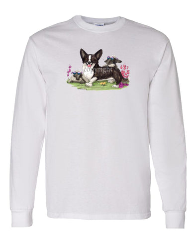 Welsh Corgi Cardigan - Sheep With Shades - Caricature - Long Sleeve T-Shirt