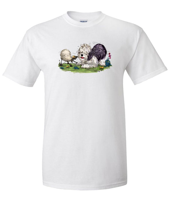 Old English Sheepdog - With Sheep - Caricature - T-Shirt