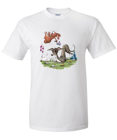 Italian Greyhound - Playing With Rabbit - Caricature - T-Shirt