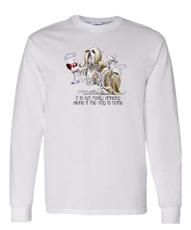Lhasa Apso - It's Drinking Alone 2 - Long Sleeve T-Shirt