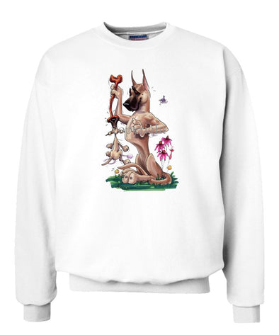 Great Dane - Puppy Hanging Onto Bone - Caricature - Sweatshirt