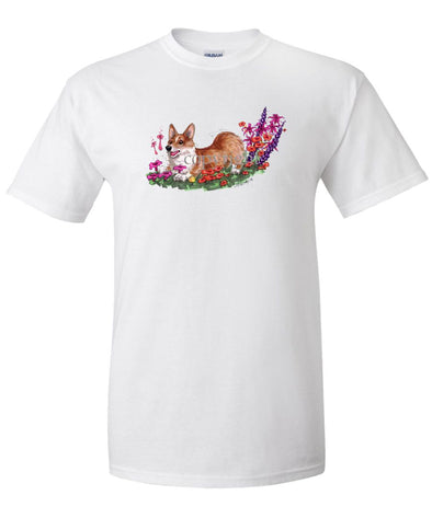 Welsh Corgi Pembroke - Flowers - Caricature - T-Shirt