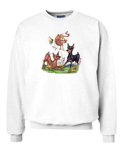 Miniature Pinscher - Group Chasing Cat - Caricature - Sweatshirt