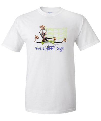 Doberman Pinscher - Who's A Happy Dog - T-Shirt