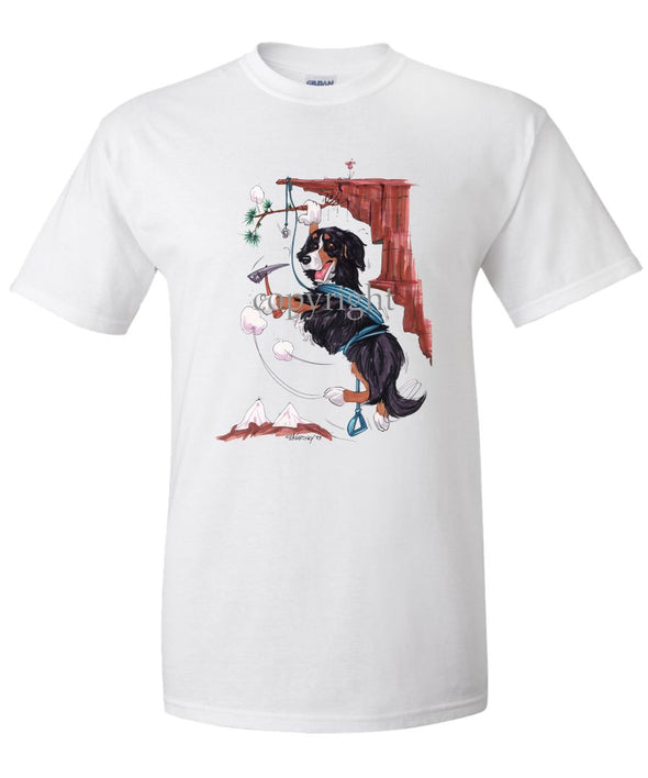 Bernese Mountain Dog - Hanging From Cliff - Caricature - T-Shirt