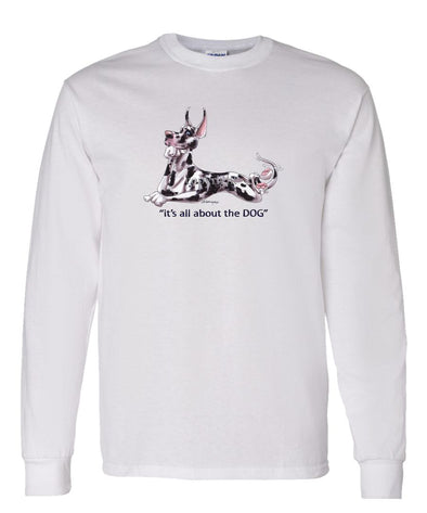 Great Dane  Harlequin - All About The Dog - Long Sleeve T-Shirt