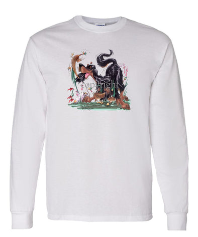 Gordon Setter - Chasing Pheasants - Caricature - Long Sleeve T-Shirt