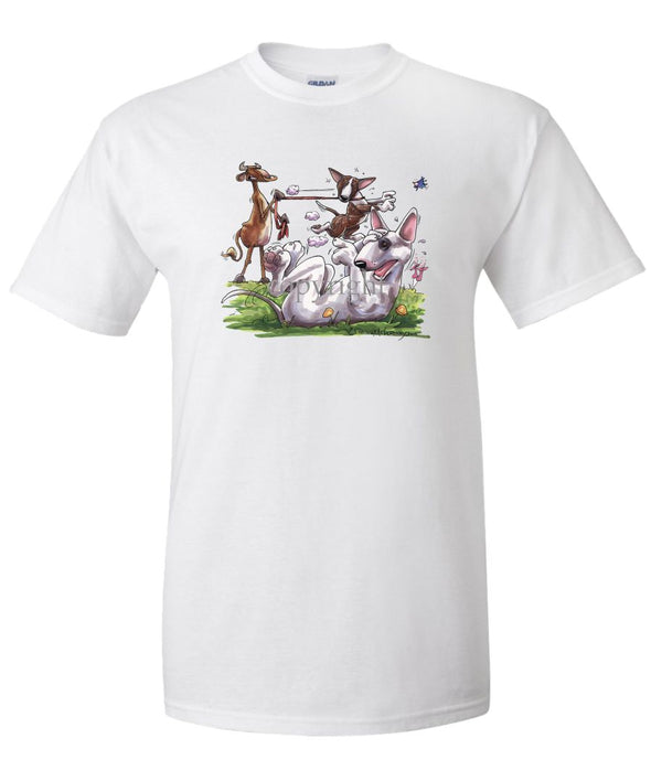 Bull Terrier - Group With Cow - Caricature - T-Shirt