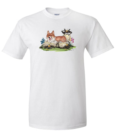 Welsh Corgi Pembroke - Laying On Sheep - Caricature - T-Shirt