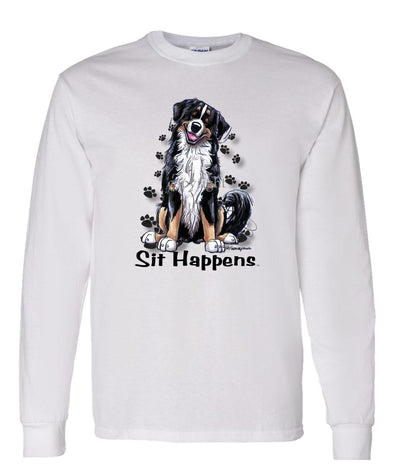 Bernese Mountain Dog - Sit Happens - Long Sleeve T-Shirt