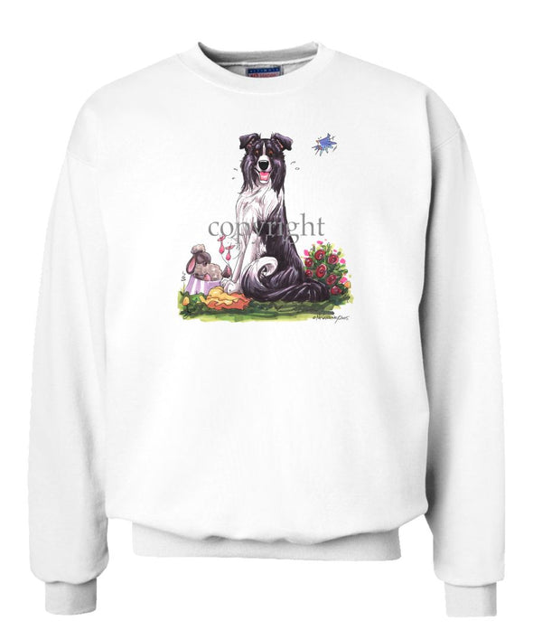 Border Collie - Sitting With Sheep In Dish - Caricature - Sweatshirt