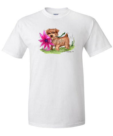 Norfolk Terrier - With Flower - Caricature - T-Shirt