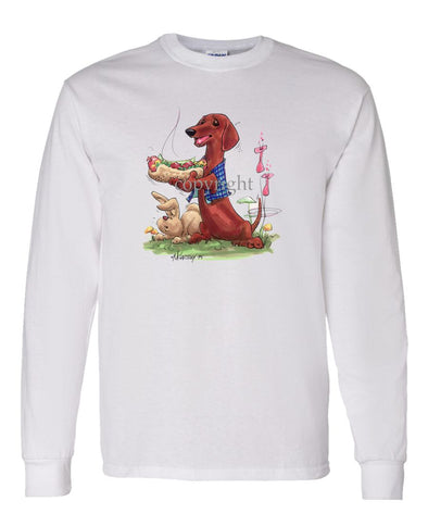 Dachshund  Smooth - Hotdog - Caricature - Long Sleeve T-Shirt