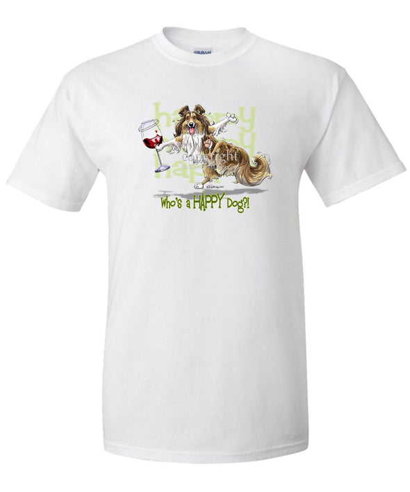 Shetland Sheepdog - 2 - Who's A Happy Dog - T-Shirt