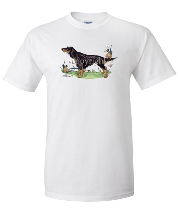 Gordon Setter - Pheasant Sitting On Tail - Caricature - T-Shirt