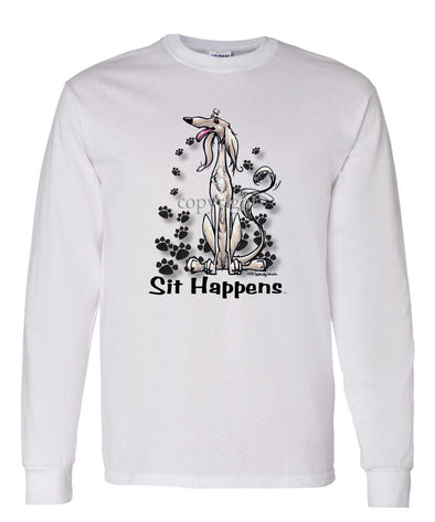 Saluki - Sit Happens - Long Sleeve T-Shirt