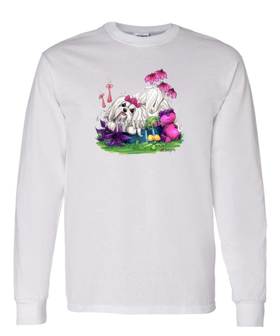 Maltese - In Dog Dish - Caricature - Long Sleeve T-Shirt