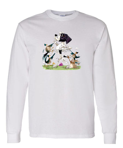 Pointer - Pheasants Pointing - Caricature - Long Sleeve T-Shirt