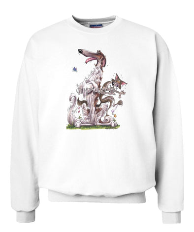 Borzoi - Sitting With Wolf - Caricature - Sweatshirt
