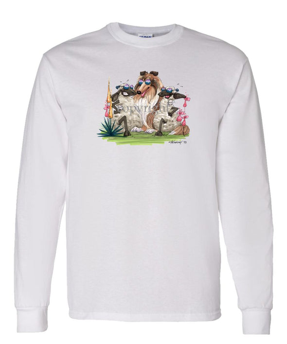 Collie - Hugging Sheep - Caricature - Long Sleeve T-Shirt