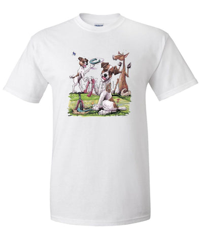 Jack Russell Terrier - Group Playing Horseshoes - Caricature - T-Shirt
