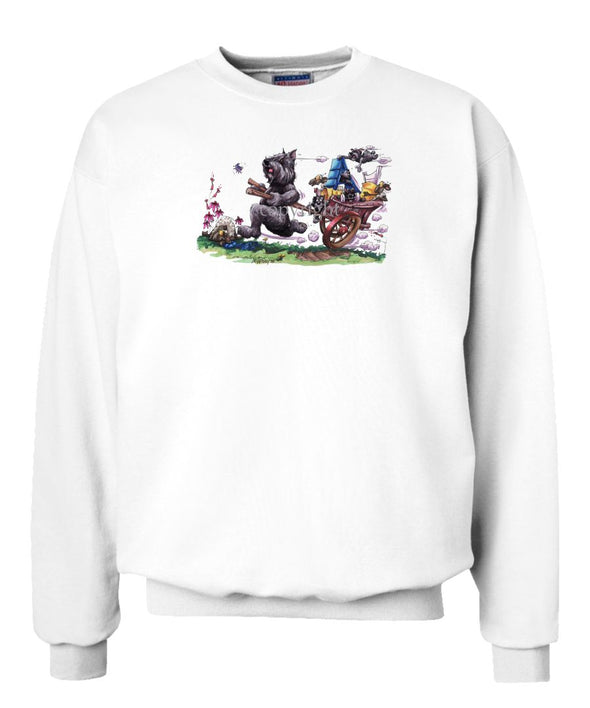 Bouvier Des Flandres - Pulling Cart With Puppies - Caricature - Sweatshirt