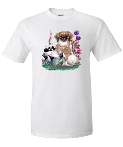Tibetan Spaniel - Sitting With Toy Panda - Caricature - T-Shirt