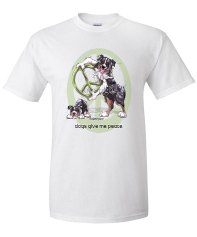 Australian Shepherd  Black Tri - Peace Dogs - T-Shirt