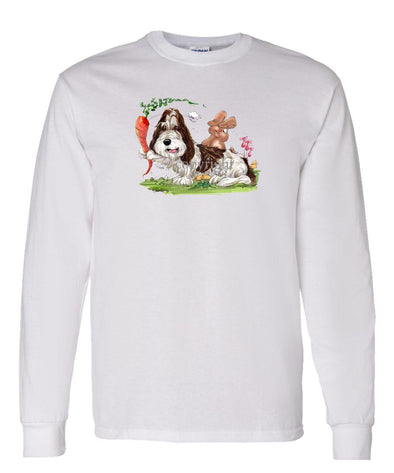 Petit Basset Griffon Vendeen - With Carrot Teasing Rabbit - Caricature - Long Sleeve T-Shirt