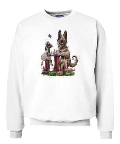 Briard - Playing Chess With Sheep - Caricature - Sweatshirt