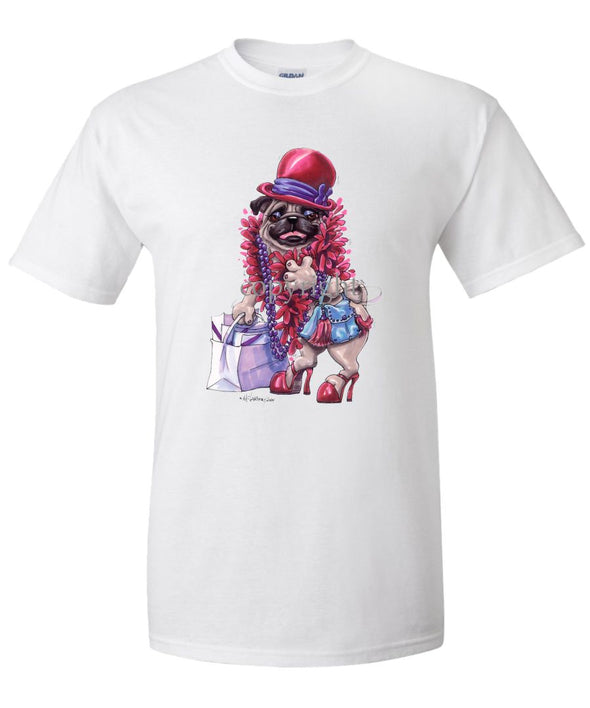Pug - Red Hat - Caricature - T-Shirt
