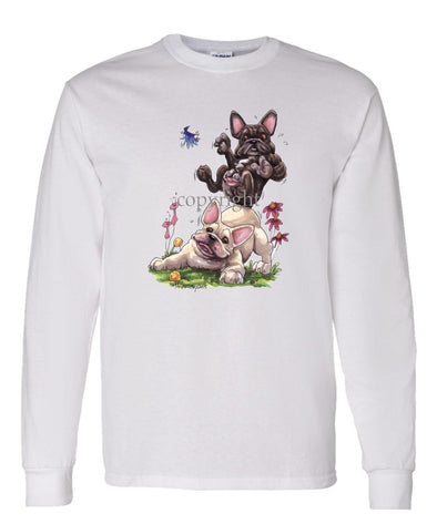 French Bulldog - Group Sitting On Each Other - Caricature - Long Sleeve T-Shirt