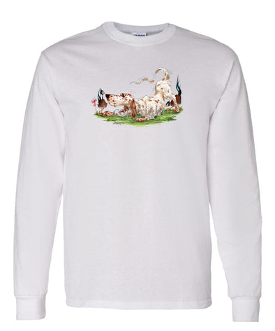 English Setter - Playing With Pheasants - Caricature - Long Sleeve T-Shirt