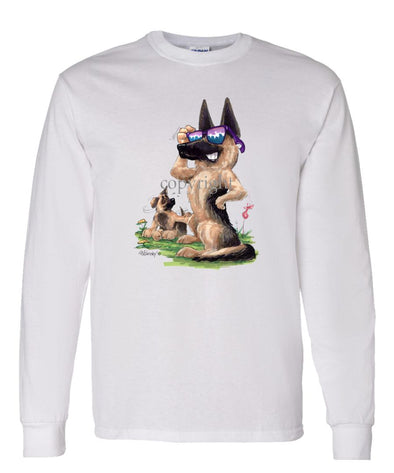 German Shepherd - Shades With Puppy - Caricature - Long Sleeve T-Shirt