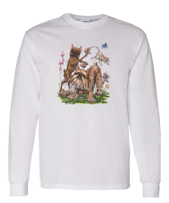 Brussels Griffon - Group With Mice - Caricature - Long Sleeve T-Shirt