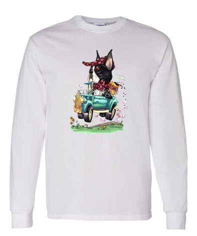 Boston Terrier - Jalopy Hauling Beans - Caricature - Long Sleeve T-Shirt