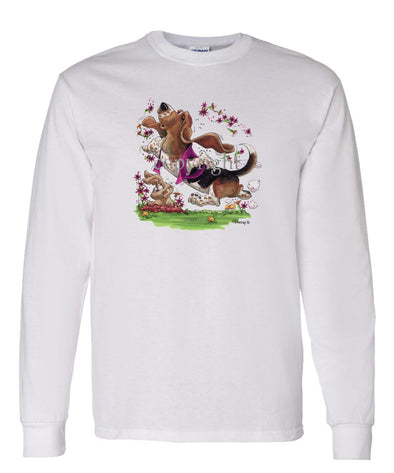 Basset Hound - Purple Vest Dancing In Flowers - Caricature - Long Sleeve T-Shirt