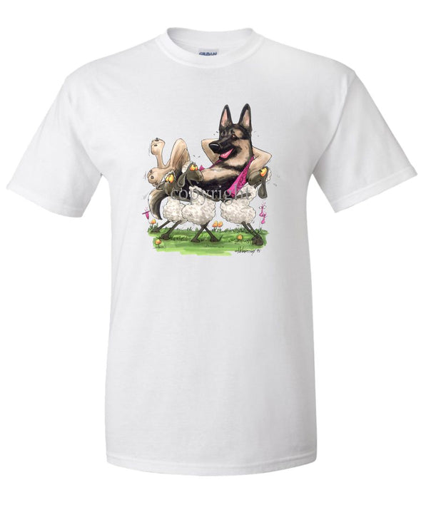 German Shepherd - Carried By Sheep - Caricature - T-Shirt