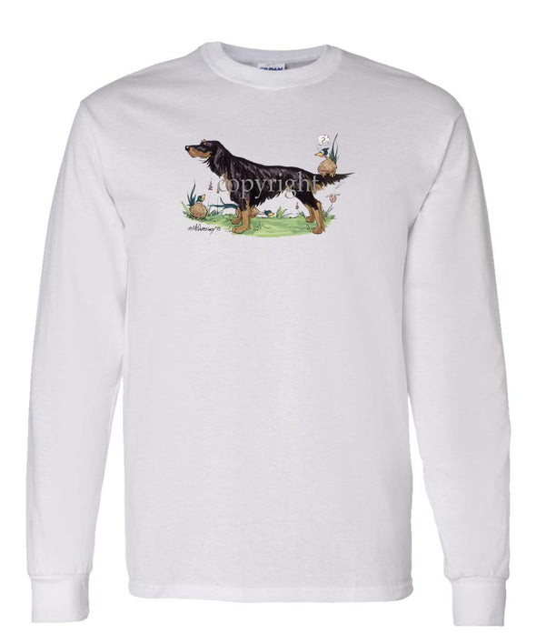 Gordon Setter - Pheasant Sitting On Tail - Caricature - Long Sleeve T-Shirt