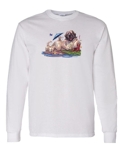 Mastiff - Drinking Lemonade - Caricature - Long Sleeve T-Shirt