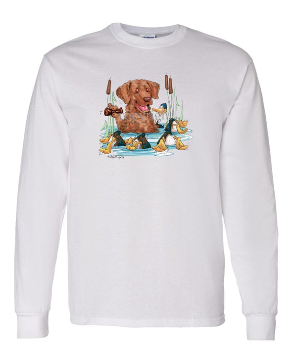 Chesapeake Bay Retriever - Duck Call - Caricature - Long Sleeve T-Shirt