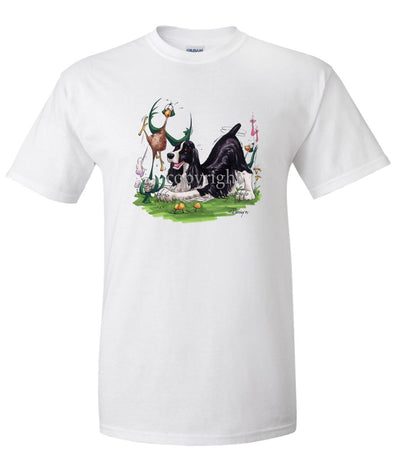 English Springer Spaniel - Pheasant By The Tail - Caricature - T-Shirt