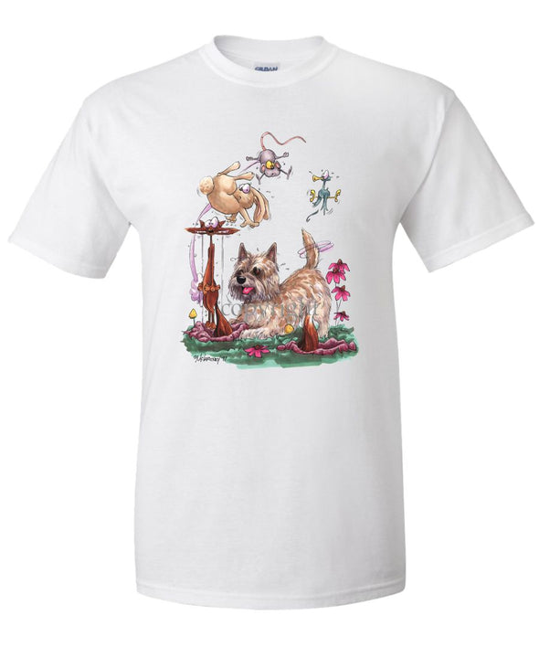 Cairn Terrier - Chasing Fox And Rabbit - Caricature - T-Shirt